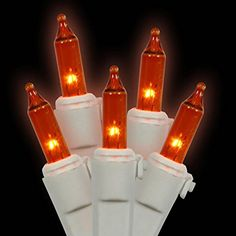 Set of 50 Amber Mini Christmas Lights  White Wire * Click image for more details.