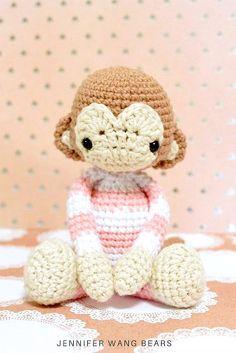 """FREE pattern: Year of the Monkey 2016 """"Houzi"""" crochet amigurumi by Jennifer Wang Bears"""