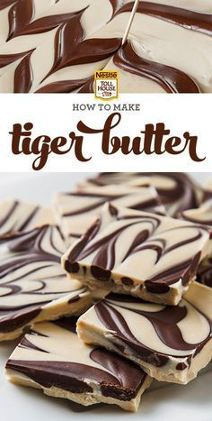 Tiger Butter It calls for just three ingredients and takes only a few minutes to make (plus refrigeration time). Fans of the chocolate-peanut butter flavor combination will love this striped candy. Get the recipe from Nestle Toll House. Just Desserts, Delicious Desserts, Yummy Food, Fudge Recipes, Dessert Recipes, Almond Bark Recipes, Rice Recipes, Yummy Treats, Sweet Treats