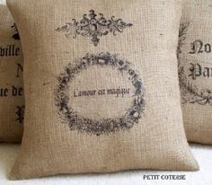 French Stamped Burlap pillow