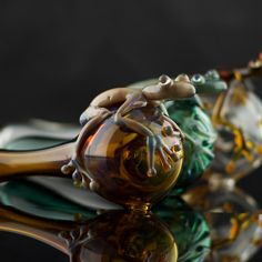 Frog Large Glass Pipe Spoon Hand Blown Thick by andromedaglass