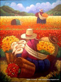 Walter W. Anicama Zamora  Pintura, Mexican Artwork, Mexican Paintings, Mexican Folk Art, Art And Illustration, Diego Rivera Art, Hispanic Art, Peruvian Art, Latino Art, Spanish Art