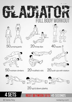 Gladiator Workout: This site has 100 amazing no equipment workouts. Free phone and tablet download, also a paperback copy you can purchase from Amazon for $10 #Diet