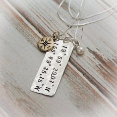 Personalized Latitude & Longitude Necklace by TracyTayanDesigns