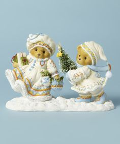 "Anna Marie and Carl ""Open your heart to Winter's Wonders"", 19th in Laplander Series. 2014,   #4040463   Bears with Christmas tree figurine #zulily #zulilyfinds"