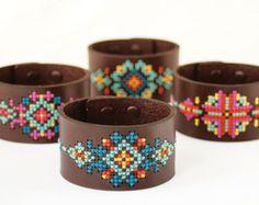 Kit de punto de Cruz DIY - brazalete de cuero con diseño inspirado suroeste