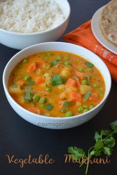 Veggie Platter: Vegetable Makhanwala / Veg Makhani (No Onion, No Garlic Recipe) Garlic Recipes, Curry Recipes, Potato Recipes, Vegetable Recipes, Mix Veg Recipe, Mix Vegetable Recipe, North Indian Recipes, Indian Food Recipes, Ethnic Recipes