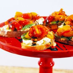 A quick 30 minute crostini featuring the classic flavor combination of cherry tomatoes, balsamic glaze, whipped burrata, and basil.