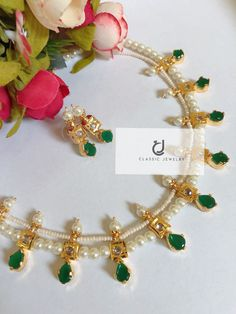 """CLASSIC JEWELRY"" presenting exquisite traditional & fashion jewelry special in gold plated. Pearl Necklace Designs, Gold Earrings Designs, Gold Jewellery Design, Stone Necklace, Necklace Set, Nizam Jewellery, Bead Jewellery, Antique Jewellery, Pearl Jewelry"