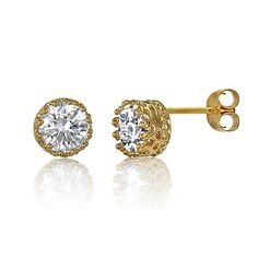 14K Gold Over Silver Vermeil Crown Set Cubic Zirconia CZ Stud Earrings from Berricle - Price: $24.99