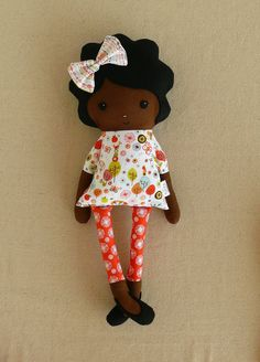 Fabric Doll Rag Doll with Black Hair and Forest Top. $35.00, via Etsy.