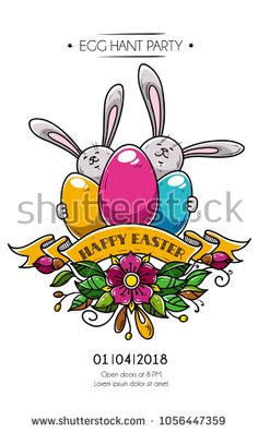 Design of Happy Easter poster, invitation to holiday party. Two rabbits hold colored eggs, ribbon and flowers. Eggs hunt party. Vector holiday banner