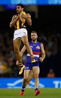 AFL Round 3, 2016. Cyril Rioli kicked three goals against the Bulldogs.