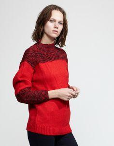 So warm looking. Alpaca wool sweater, red.
