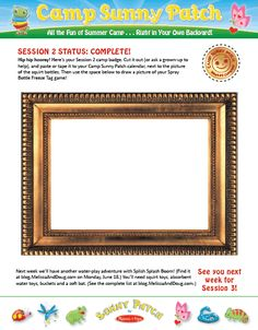 Print out your Camp Sunny Patch Session 2 camp badge! http://blog.melissaanddoug.com/2012/06/14/camp-sunny-patch-get-your-session-2-camp-badge/