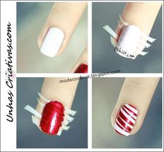 Nail art is a very popular trend these days and every woman you meet seems to have beautiful nails. It used to be that women would just go get a manicure or pedicure to get their nails trimmed and shaped with just a few coats of plain nail polish. Holiday Nail Designs, Simple Nail Designs, Diy Nail Designs Step By Step, Cute Nails, Pretty Nails, Sexy Nails, Candy Cane Nails, Candy Canes, Manicure Y Pedicure