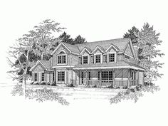 Farmhouse House Plan with 2491 Square Feet and 4 Bedrooms from Dream Home Source   House Plan Code DHSW09014