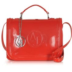 Armani Jeans Designer Handbags Red Patent Eco Leather Shoulder bag (£110) ❤ liked on Polyvore featuring bags, handbags, shoulder bags, shoulder handbags, handbags shoulder bags, patent leather purse, red patent purse and red shoulder handbags