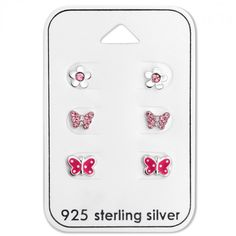 Baby and Children's Earrings:  Sterling Silver Pink Butterfly and Flower Earrings x 3 Pairs Gift Pack.  Great value gift packs of kids' earrings from Baby Jewels.