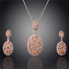 Grátis frete 2014 nova ambiental de alta qualidade colar / brincos 18 k ouro amarelo chapeado cristal austríaco conjunto de jóias