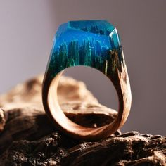 New miniature worlds encased into wooden rings by secret wood