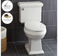 View the Miseno MNO240C Two-Piece High Efficiency Toilet with Elongated ADA Height Bowl, Slow Close Seat, Decorative Trip Lever and Wax Ring (1.28 GPF) at FaucetDirect.com.