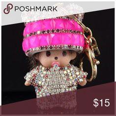 Keychain Color: Hot Pink Size: 10*6cm Quantity: 1pcs Material: Zinc Alloy, Rhinestones Other