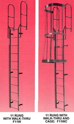 Ladders Fixed Access Ladders 9 Step Steel Walk Through