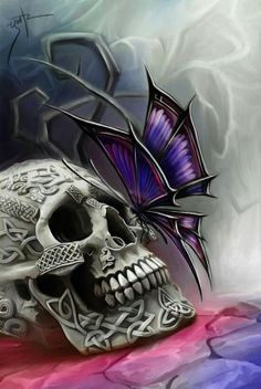 I fucking love this! Skull and butterfly art