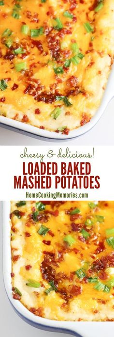 Loaded Baked Mashed Potatoes recipe – a delicious side d… Cheesy potato goodness! Loaded Baked Mashed Potatoes recipe – a delicious side dish loaded with cheese, bacon, roasted garlic, & more! Potato Side Dishes, Vegetable Side Dishes, Vegetable Recipes, Potato Recipes, New Recipes, Cooking Recipes, Special Recipes, Cooking Gadgets, Side Dishes