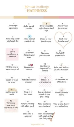 30 days of happiness challenge where you do things for yourself and others and end up being happier and more positive!...