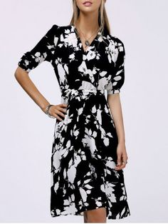 Fashionable V-Neck Black and White Floral Print Midi Dress For Women #Black_and_White #Floral_Dresses #Work_Dresses