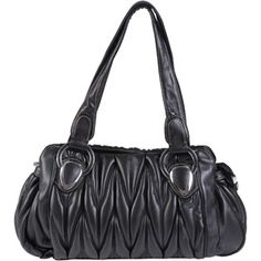 Brinley Co Women's Faux Leather Double Handle Ruched Satchel