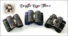 Dog Bows for your show dog in classic brocades and rich satin overlay edged with gold by Doggie Bow Ties! Feature imported French brocade and layered tinsel edge satins a beautiful dog bow for that special shih Tzu!