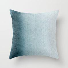 Teal Vertical Blur Abstract Art Throw Pillow for modern home decor   #minimaldecor #modernhome #modernart #couchpillows #throwpillows