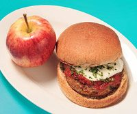 """Pizza Burger, from Fitness Magazine """"The Lose 10 Pounds in 30 Days Diet: Healthy Lunches Under 400 Calories"""""""