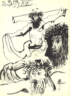 Pablo Picasso - Jesus on the Cross (Detail), 1959 - Lithograph, Green