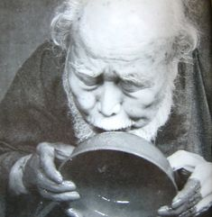 "Tokuro Kato 加藤唐九郎 (1897-1985), Seto potter. Kato said of tea bowls: ""They are not only to gaze upon, but must be held and used to appreciate their inherent beauty and art; this cannot be done with paintings or sculpture. To make a good tea bowl, first one has to understand the value of old masterpieces. I have come to that understanding but still can't seem to make even one worthy tea bowl!"""