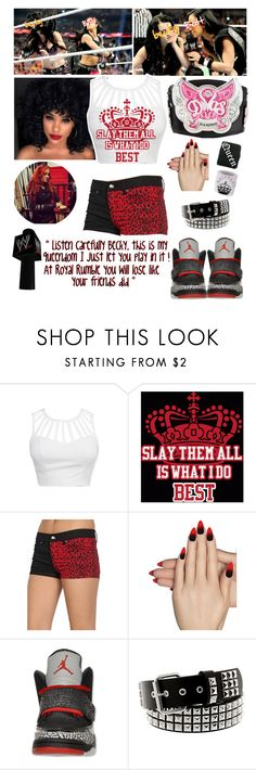 """SmackDown ~ Becky Lynch asks a match for the Divas Championship at Royal Rumble"" by swaggwweforever ❤ liked on Polyvore featuring Static Nails"