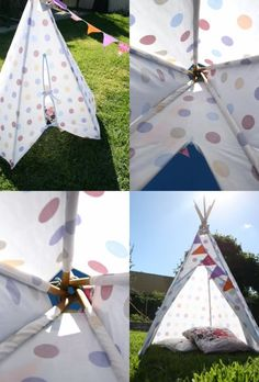 How To: DIY Tee Pee Tent - part 2 ▽▼▽ My Poppet : your weekly dose of crafty inspiration Kids Tents, Teepee Kids, Teepee Nursery, Diy Teepee Tent, Diy And Crafts, Crafts For Kids, Sewing Projects, Projects To Try, Crafty Kids