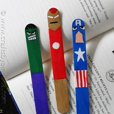 Avengers Popsicle stick bookmarks! :O