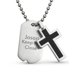 Personalized Black Cross Dog Tag Pendant- Vertical With Free Keepsake Box, Add Your Message