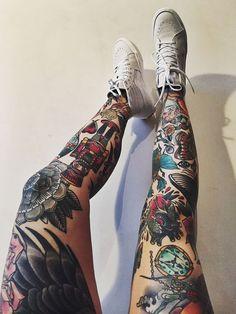 Image result for leg sleeve tattoos for women