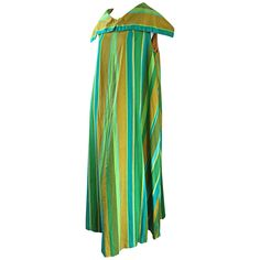 1960s Whims of California for Joseph Magnin Blue   Green 60s Caftan Maxi Dress | From a collection of rare vintage day dresses at https://www.1stdibs.com/fashion/clothing/day-dresses/