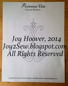 Elsa Coronation Glove Stencil PDF Template by joy2sew on Etsy, $3.50