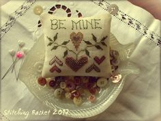 Design by Nikyscreations - Be Mine Heart Pincushion, from Punch Needle and Primitive Stitcher Magazine (Winter Issue 4, 2016)