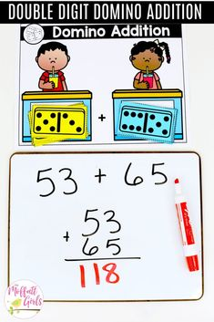 Math games 363384263685459386 - Domino Addition- Tons of hands-on math centers and games to teach addition and subtraction with and numbers! Source by mathgeekmama Subtraction Kindergarten, Subtraction Activities, Math Activities, Kindergarten Addition, Multiplication Strategies, Math Fractions, Numeracy, Fun Math, 2nd Grade Math Games