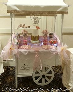 Pink and gold themed candy cart! Perfect for a baptism