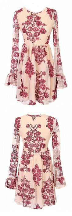 #boho Embroidery red lace dress in choies.com