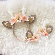 Deer Antler Crown Headband // peaches and cream by BakerBlossoms